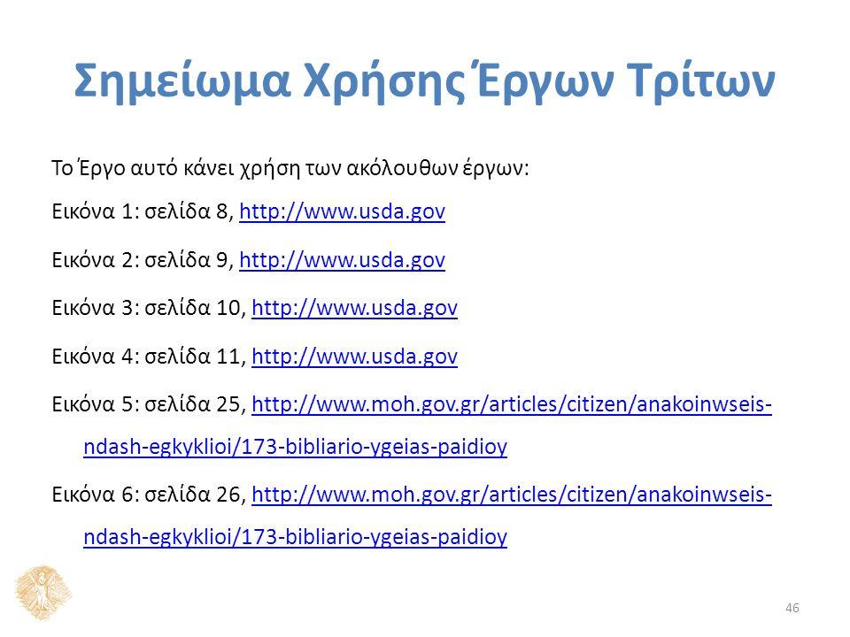 Σημείωμα Χρήσης Έργων Τρίτων Το Έργο αυτό κάνει χρήση των ακόλουθων έργων: Εικόνα 1: σελίδα 8, http://www.usda.govhttp://www.usda.gov Εικόνα 2: σελίδα 9, http://www.usda.govhttp://www.usda.gov Εικόνα 3: σελίδα 10, http://www.usda.govhttp://www.usda.gov Εικόνα 4: σελίδα 11, http://www.usda.govhttp://www.usda.gov Εικόνα 5: σελίδα 25, http://www.moh.gov.gr/articles/citizen/anakoinwseis- ndash-egkyklioi/173-bibliario-ygeias-paidioyhttp://www.moh.gov.gr/articles/citizen/anakoinwseis- ndash-egkyklioi/173-bibliario-ygeias-paidioy Εικόνα 6: σελίδα 26, http://www.moh.gov.gr/articles/citizen/anakoinwseis- ndash-egkyklioi/173-bibliario-ygeias-paidioyhttp://www.moh.gov.gr/articles/citizen/anakoinwseis- ndash-egkyklioi/173-bibliario-ygeias-paidioy 46