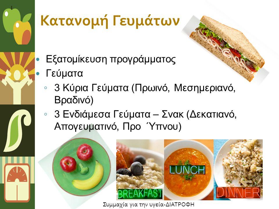Εξατομίκευση προγράμματος Γεύματα ◦ 3 Κύρια Γεύματα (Πρωινό, Μεσημεριανό, Βραδινό) ◦ 3 Ενδιάμεσα Γεύματα – Σνακ (Δεκατιανό, Απογευματινό, Προ Ύπνου) Κατανομή Γευμάτων Συμμαχία για την υγεία-ΔΙΑΤΡΟΦΗ