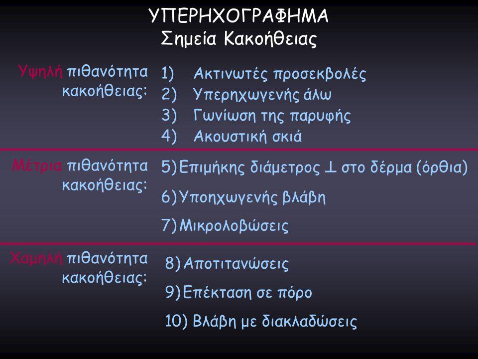 ΥΠΕΡΗΧΟΓΡΑΦΗΜΑ Σημεία Κακοήθειας 1)Ακτινωτές προσεκβολές 2)Υπερηχωγενής άλω 3)Γωνίωση της παρυφής 4)Ακουστική σκιά Υψηλή πιθανότητα κακοήθειας: 5)Επιμ