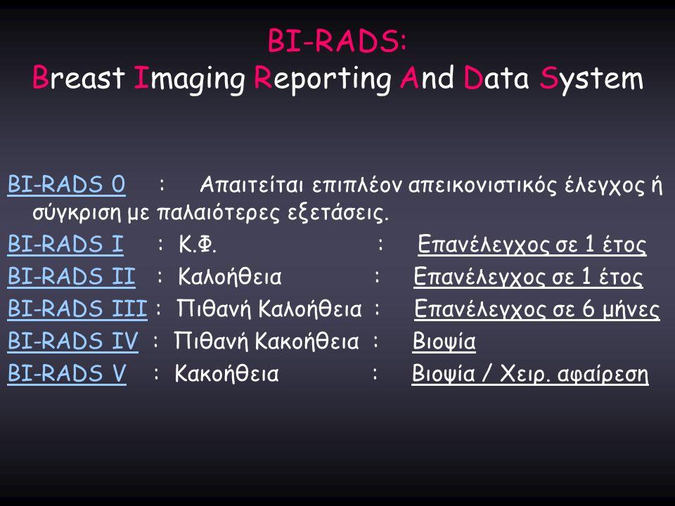 BI-RADS: Breast Imaging Reporting And Data System BI-RADS 0 : Απαιτείται επιπλέον απεικονιστικός έλεγχος ή σύγκριση με παλαιότερες εξετάσεις. BI-RADS