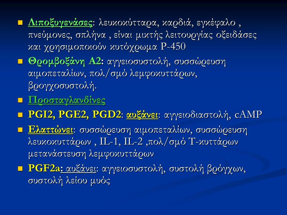 Λιποξυγενάσες: λευκοκύτταρα, καρδιά, εγκέφαλο, πνεύμονες, σπλήνα, είναι μικτής λειτουργίας οξειδάσες και χρησιμοποιούν κυτόχρωμα P-450 Λιποξυγενάσες: λευκοκύτταρα, καρδιά, εγκέφαλο, πνεύμονες, σπλήνα, είναι μικτής λειτουργίας οξειδάσες και χρησιμοποιούν κυτόχρωμα P-450 Θρομβοξάνη Α2: αγγειοσυστολή, συσσώρευση αιμοπεταλίων, πολ/σμό λεμφοκυττάρων, βρογχοσυστολή.