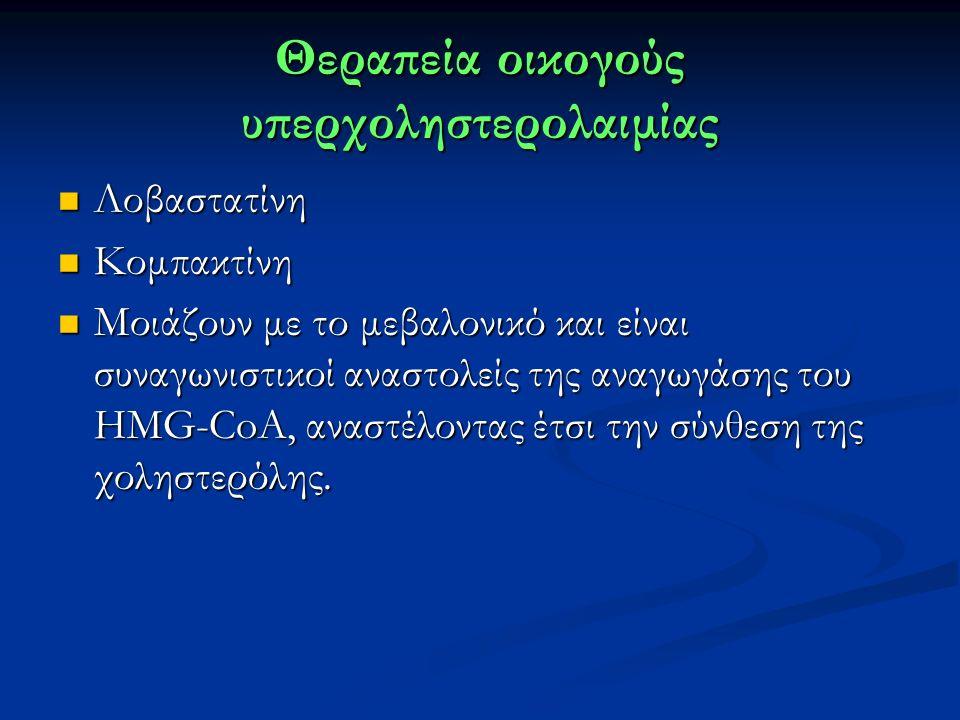 Θεραπεία οικογούς υπερχοληστερολαιμίας Λοβαστατίνη Λοβαστατίνη Κομπακτίνη Κομπακτίνη Μοιάζουν με το μεβαλονικό και είναι συναγωνιστικοί αναστολείς της αναγωγάσης του HMG-CoA, αναστέλοντας έτσι την σύνθεση της χοληστερόλης.