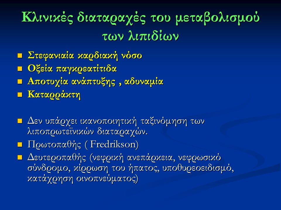 Κλινικές διαταραχές του μεταβολισμού των λιπιδίων Στεφανιαία καρδιακή νόσο Στεφανιαία καρδιακή νόσο Οξεία παγκρεατίτιδα Οξεία παγκρεατίτιδα Αποτυχία ανάπτυξης, αδυναμία Αποτυχία ανάπτυξης, αδυναμία Καταρράκτη Καταρράκτη Δεν υπάρχει ικανοποιητική ταξινόμηση των λιποπρωτεϊνικών διαταραχών.