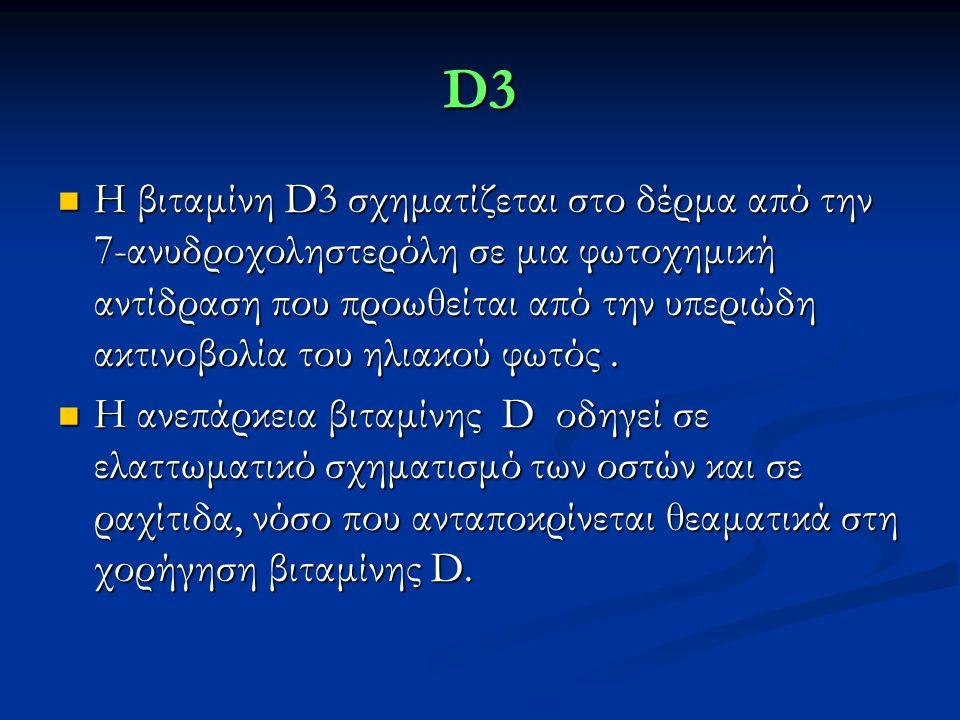 D3 Η βιταμίνη D3 σχηματίζεται στο δέρμα από την 7-ανυδροχοληστερόλη σε μια φωτοχημική αντίδραση που προωθείται από την υπεριώδη ακτινοβολία του ηλιακού φωτός.