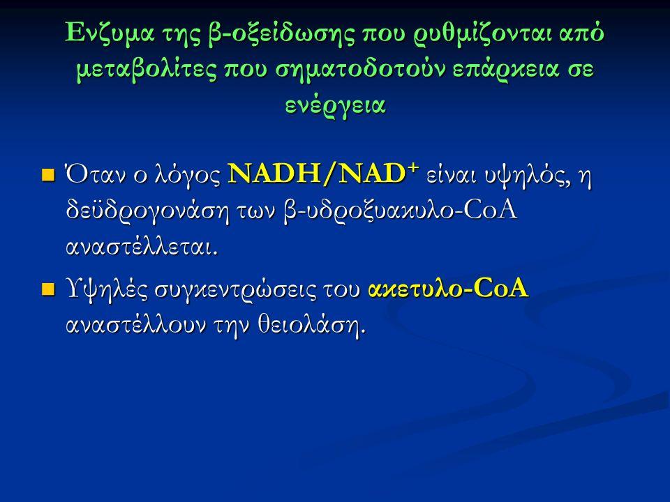 Ενζυμα της β-οξείδωσης που ρυθμίζονται από μεταβολίτες που σηματοδοτούν επάρκεια σε ενέργεια Όταν ο λόγος ΝADH/NAD + είναι υψηλός, η δεϋδρογονάση των β-υδροξυακυλο-CoA αναστέλλεται.