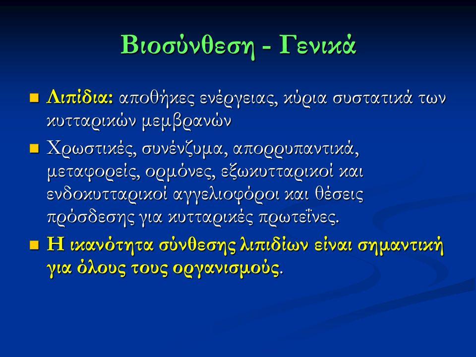 Βιοσύνθεση - Γενικά Λιπίδια: αποθήκες ενέργειας, κύρια συστατικά των κυτταρικών μεμβρανών Λιπίδια: αποθήκες ενέργειας, κύρια συστατικά των κυτταρικών μεμβρανών Χρωστικές, συνένζυμα, απορρυπαντικά, μεταφορείς, ορμόνες, εξωκυτταρικοί και ενδοκυτταρικοί αγγελιοφόροι και θέσεις πρόσδεσης για κυτταρικές πρωτεΐνες.