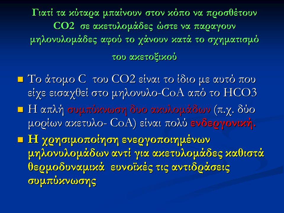 Γιατί τα κύταρα μπαίνουν στον κόπο να προσθέτουν CO2 σε ακετυλομάδες ώστε να παραγουν μηλονυλομάδες αφού το χάνουν κατά το σχηματισμό του ακετοξικού Το άτομο C του CO2 είναι το ίδιο με αυτό που είχε εισαχθεί στο μηλονυλο-CoA από το HCO3 Το άτομο C του CO2 είναι το ίδιο με αυτό που είχε εισαχθεί στο μηλονυλο-CoA από το HCO3 H απλή συμπύκνωση δυο ακυλομάδων (π.χ.