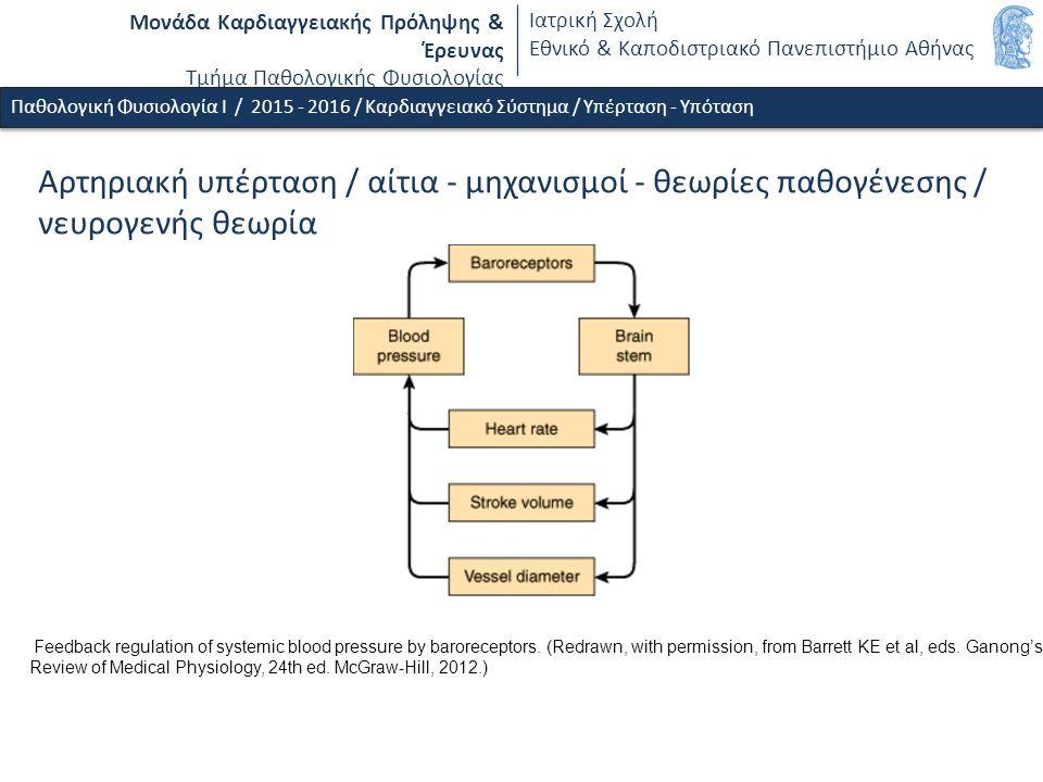 Μονάδα Καρδιαγγειακής Πρόληψης & Έρευνας Τμήμα Παθολογικής Φυσιολογίας Ιατρική Σχολή Εθνικό & Καποδιστριακό Πανεπιστήμιο Αθήνας Feedback regulation of