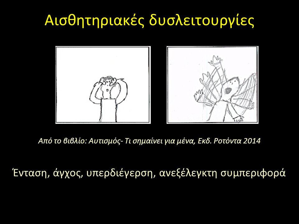 Αισθητηριακές δυσλειτουργίες Από το βιβλίο: Αυτισμός- Τι σημαίνει για μένα, Εκδ. Ροτόντα 2014 Ένταση, άγχος, υπερδιέγερση, ανεξέλεγκτη συμπεριφορά