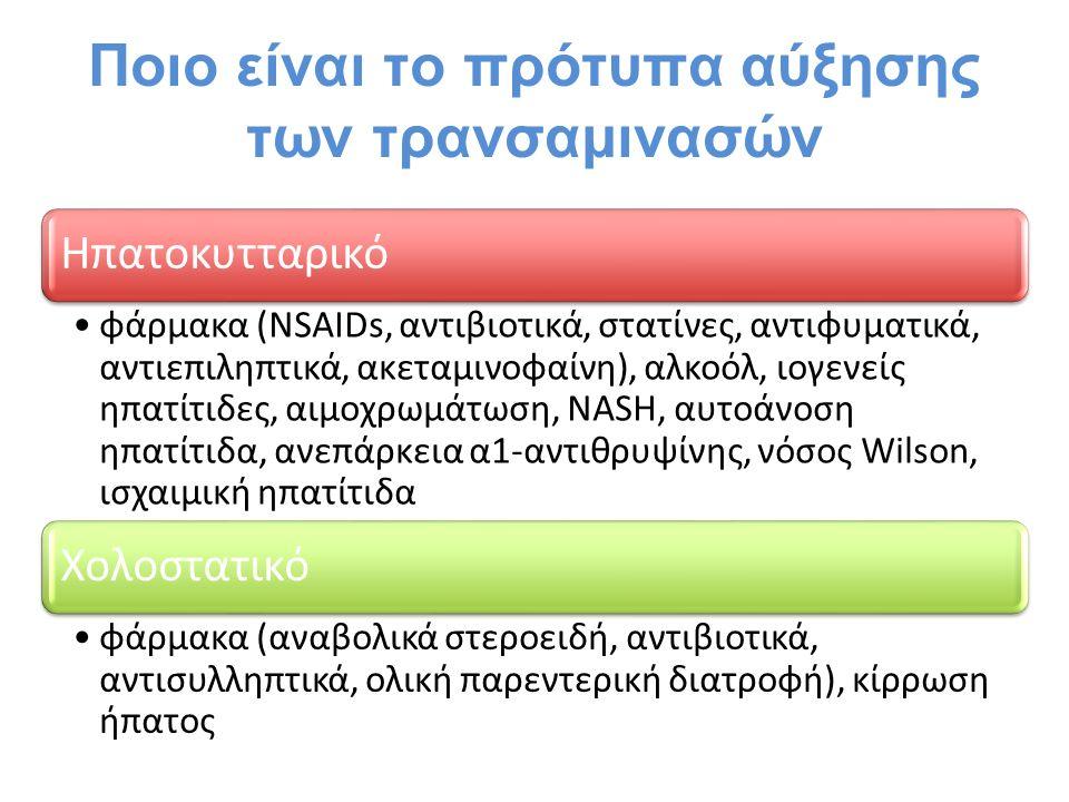 Ποιο είναι το πρότυπα αύξησης των τρανσαμινασών Ηπατοκυτταρικό φάρμακα (NSAIDs, αντιβιοτικά, στατίνες, αντιφυματικά, αντιεπιληπτικά, ακεταμινοφαίνη),