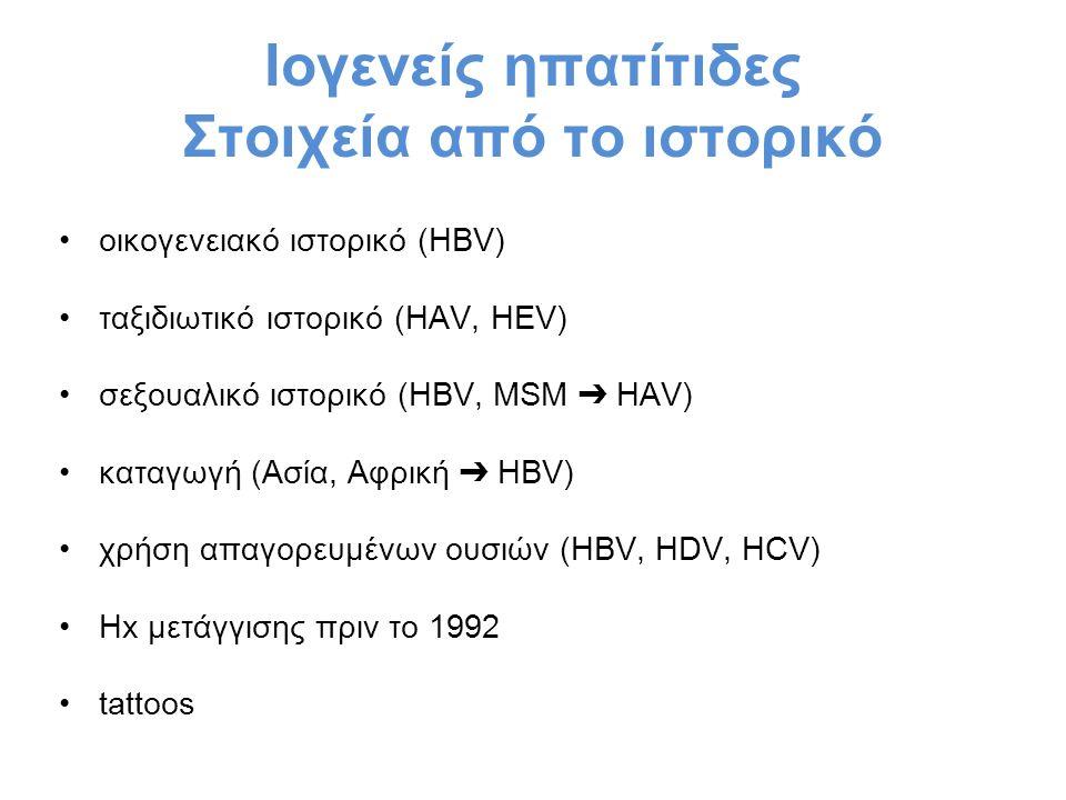 Ιογενείς ηπατίτιδες Στοιχεία από το ιστορικό οικογενειακό ιστορικό (HBV) ταξιδιωτικό ιστορικό (HAV, HEV) σεξουαλικό ιστορικό (HBV, MSM ➔ HAV) καταγωγή (Ασία, Αφρική ➔ HBV) χρήση απαγορευμένων ουσιών (HBV, HDV, HCV) Ηx μετάγγισης πριν το 1992 tattoos