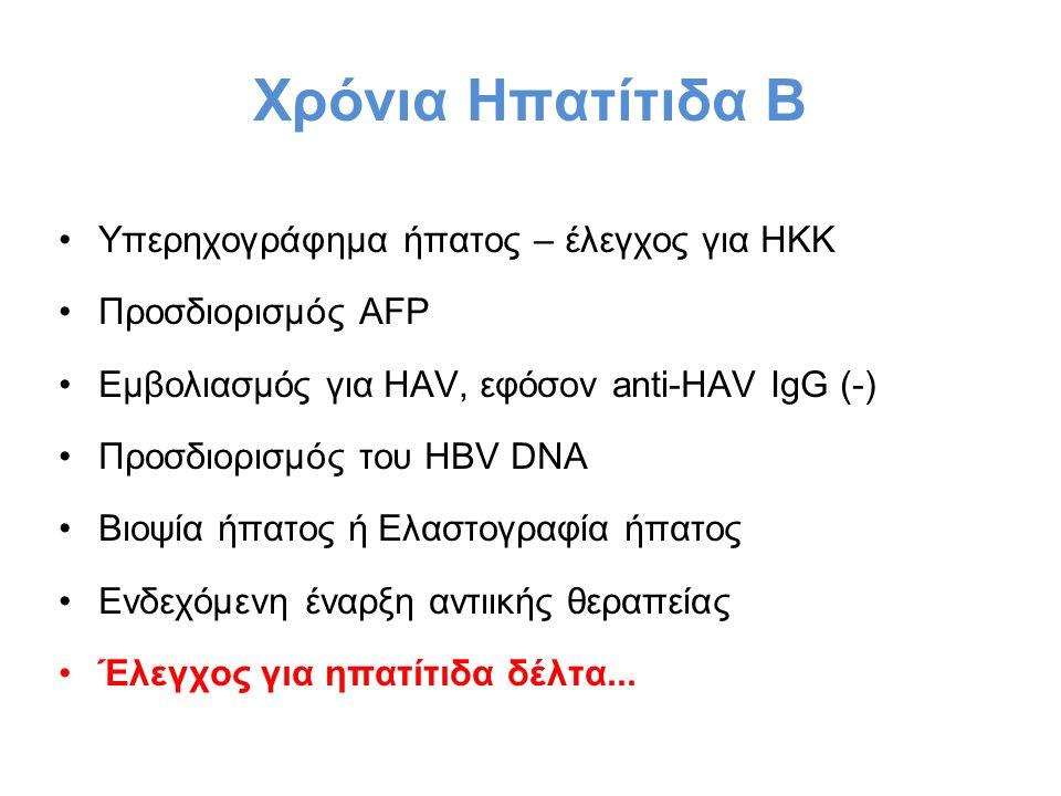 Χρόνια Ηπατίτιδα Β Υπερηχογράφημα ήπατος – έλεγχος για ΗΚΚ Προσδιορισμός AFP Εμβολιασμός για HAV, εφόσον anti-HAV IgG (-) Προσδιορισμός του HBV DNA Βιοψία ήπατος ή Ελαστογραφία ήπατος Ενδεχόμενη έναρξη αντιικής θεραπείας Έλεγχος για ηπατίτιδα δέλτα...