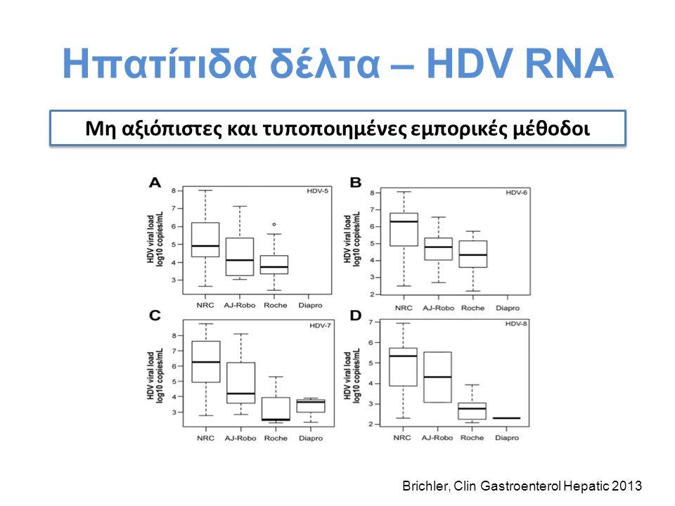 Ηπατίτιδα δέλτα – HDV RNA Μη αξιόπιστες και τυποποιημένες εμπορικές μέθοδοι Brichler, Clin Gastroenterol Hepatic 2013