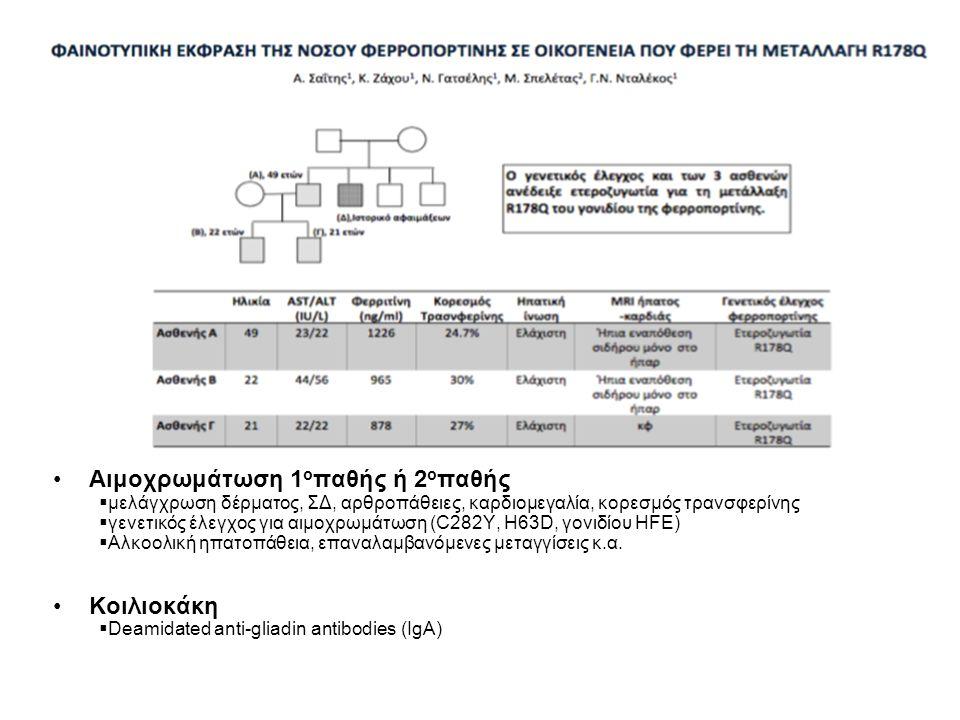 Σπανιότερα αίτια τρανσαμινασαιμίας Νόσος Wilson:  Σερουλοπλασμίνη (↓)  Δακτύλιος Kayser – Fleicher  Χαλκός ορού / ούρων 24ώρου  Γενετικός έλεγχος σε άτομα <40 ετών  Βιοψία ήπατος Ανεπάρκεια α1-αντιθρυψίνης  νεαρή ηλικία, θετικό οικογενειακό ιστορικό, εμφύσημα  Ηλεκτροφόρηση λευκωμάτων (μείωση των α1 σφαιρινών)  Μέτρηση α1-αντιθρυψίνης Αιμοχρωμάτωση 1 ο παθής ή 2 ο παθής  μελάγχρωση δέρματος, ΣΔ, αρθροπάθειες, καρδιομεγαλία, κορεσμός τρανσφερίνης  γενετικός έλεγχος για αιμοχρωμάτωση (C282Y, H63D, γονιδίου HFE)  Αλκοολική ηπατοπάθεια, επαναλαμβανόμενες μεταγγίσεις κ.α.