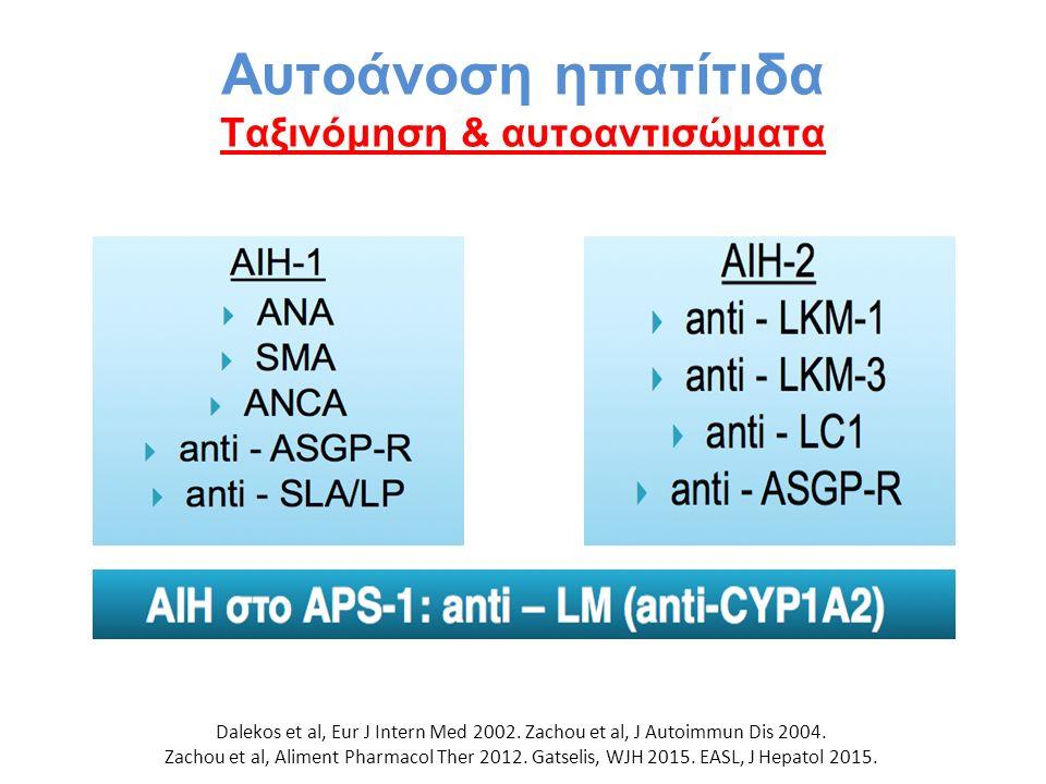 Αυτοάνοση ηπατίτιδα Ταξινόμηση & αυτοαντισώματα Dalekos et al, Eur J Intern Med 2002. Zachou et al, J Autoimmun Dis 2004. Zachou et al, Aliment Pharma