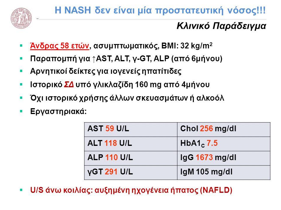 H NASH δεν είναι μία προστατευτική νόσος!!! Κλινικό Παράδειγμα  Άνδρας 58 ετών, ασυμπτωματικός, ΒΜΙ: 32 kg/m 2  Παραπομπή για ↑AST, ALT, γ-GT, ALP (