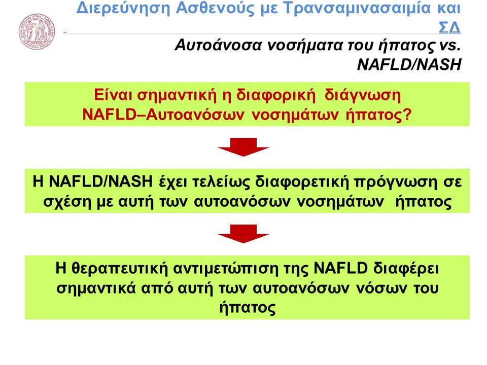 Διερεύνηση Ασθενούς με Τρανσαμινασαιμία και ΣΔ Αυτοάνοσα νοσήματα του ήπατος vs. NAFLD/NASH Η NAFLD/NASH έχει τελείως διαφορετική πρόγνωση σε σχέση με