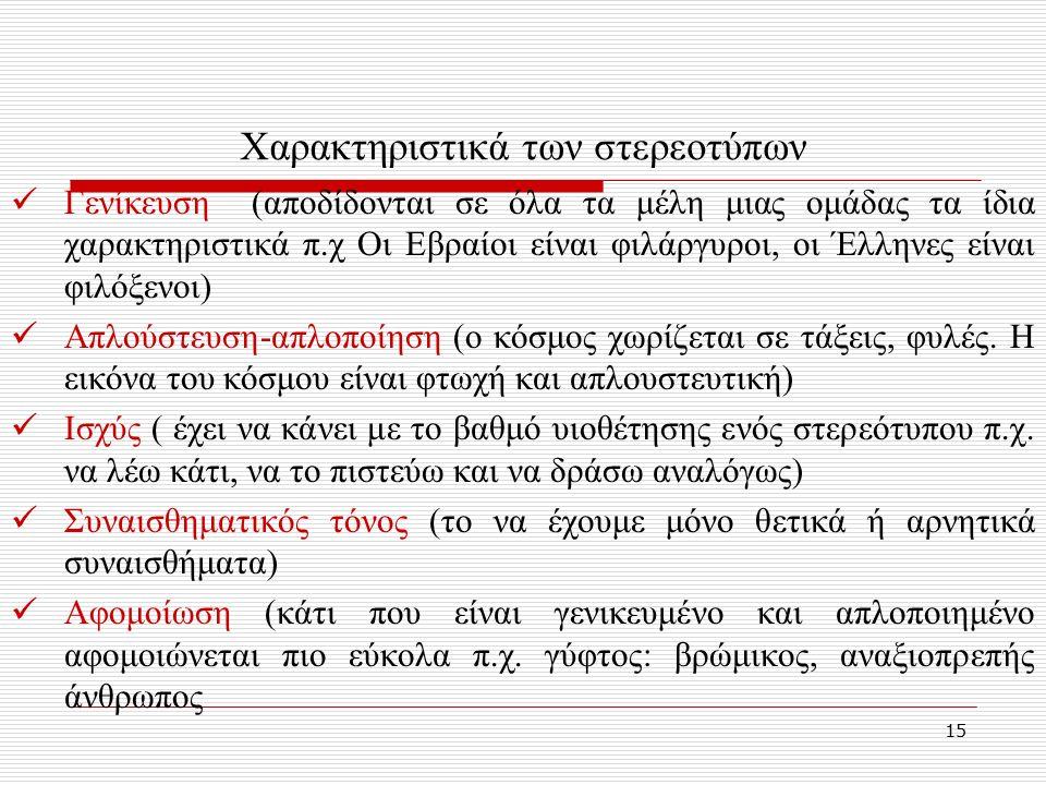 15 Χαρακτηριστικά των στερεοτύπων Γενίκευση (αποδίδονται σε όλα τα μέλη μιας ομάδας τα ίδια χαρακτηριστικά π.χ Οι Εβραίοι είναι φιλάργυροι, οι Έλληνες είναι φιλόξενοι) Απλούστευση-απλοποίηση (ο κόσμος χωρίζεται σε τάξεις, φυλές.