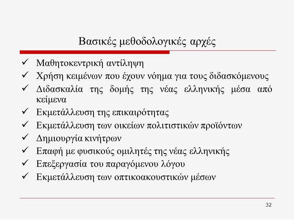 32 Βασικές μεθοδολογικές αρχές Μαθητοκεντρική αντίληψη Χρήση κειμένων που έχουν νόημα για τους διδασκόμενους Διδασκαλία της δομής της νέας ελληνικής μέσα από κείμενα Εκμετάλλευση της επικαιρότητας Εκμετάλλευση των οικείων πολιτιστικών προϊόντων Δημιουργία κινήτρων Επαφή με φυσικούς ομιλητές της νέας ελληνικής Επεξεργασία του παραγόμενου λόγου Εκμετάλλευση των οπτικοακουστικών μέσων