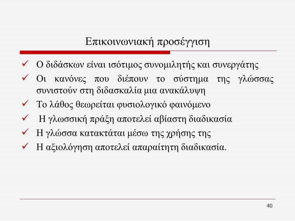 40 Επικοινωνιακή προσέγγιση Ο διδάσκων είναι ισότιμος συνομιλητής και συνεργάτης Οι κανόνες που διέπουν το σύστημα της γλώσσας συνιστούν στη διδασκαλία μια ανακάλυψη Το λάθος θεωρείται φυσιολογικό φαινόμενο Η γλωσσική πράξη αποτελεί αβίαστη διαδικασία Η γλώσσα κατακτάται μέσω της χρήσης της Η αξιολόγηση αποτελεί απαραίτητη διαδικασία.