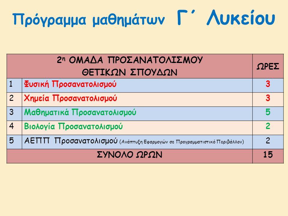 2 η ΟΜΑΔΑ ΠΡΟΣΑΝΑΤΟΛΙΣΜΟΥ ΘΕΤΙΚΩΝ ΣΠΟΥ ΔΩΝ ΩΡΕΣ 1Φυσική Προσανατολισμού3 2Χημεία Προσανατολισμού3 3Μαθηματικά Προσανατολισμού5 4Βιολογία Προσανατολισμού2 5 ΑΕΠΠ Προσανατολισμού (Ανάπτυξη Εφαρμογών σε Προγραμματιστικό Περιβάλλον) 2 ΣΥΝΟΛΟ ΩΡΩΝ15 Πρόγραμμα μαθημάτων Γ΄ Λυκείου