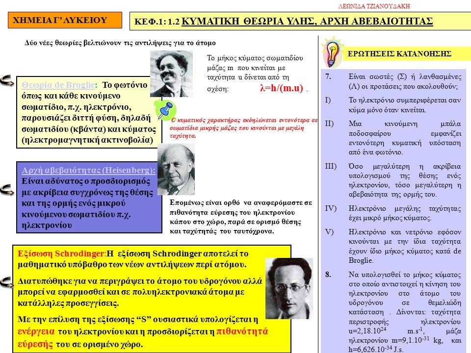 ΧΗΜΕΙΑ Γ' ΛΥΚΕΙΟΥ ΚΕΦ.1: 1.2 ΚΥΜΑΤΙΚΗ ΘΕΩΡΙΑ ΥΛΗΣ, ΑΡΧΗ ΑΒΕΒΑΙΟΤΗΤΑΣ Δύο νέες θεωρίες βελτιώνουν τις αντιλήψεις για το άτομο Θεωρία de BroglieΘεωρία de Broglie: Το φωτόνιο όπως και κάθε κινούμενο σωματίδιο, π.χ.