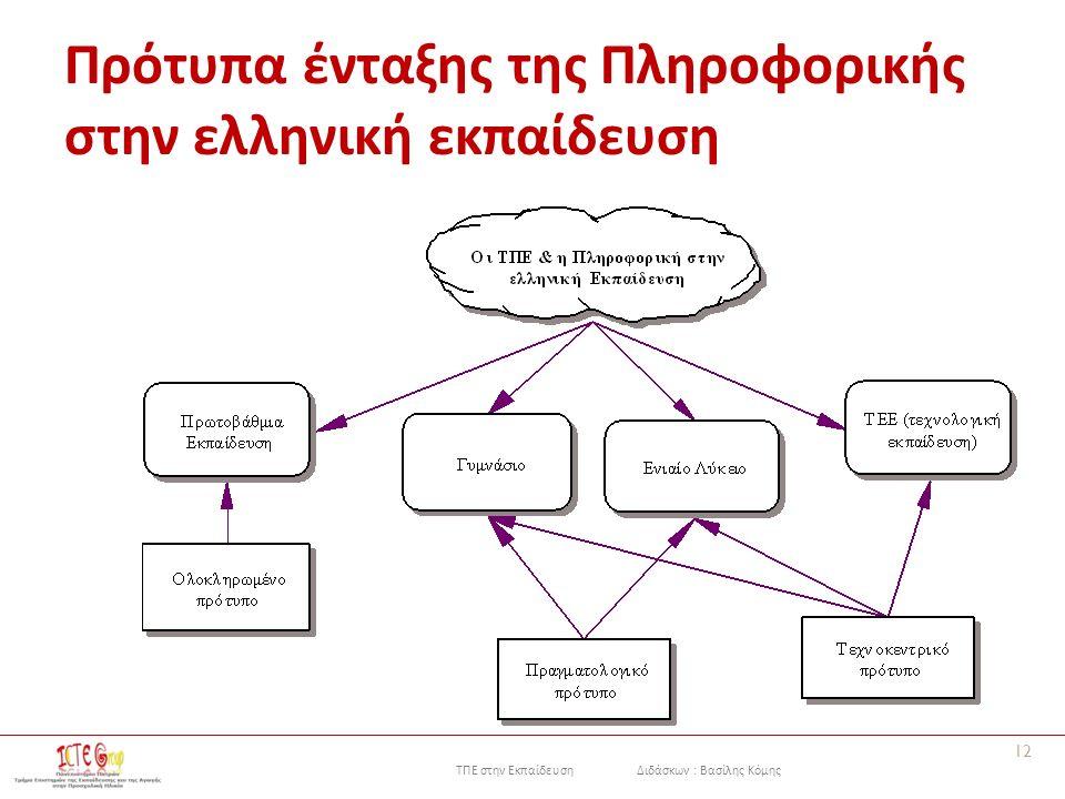 ΤΠΕ στην Εκπαίδευση Διδάσκων : Βασίλης Κόμης Πρότυπα ένταξης της Πληροφορικής στην ελληνική εκπαίδευση 12