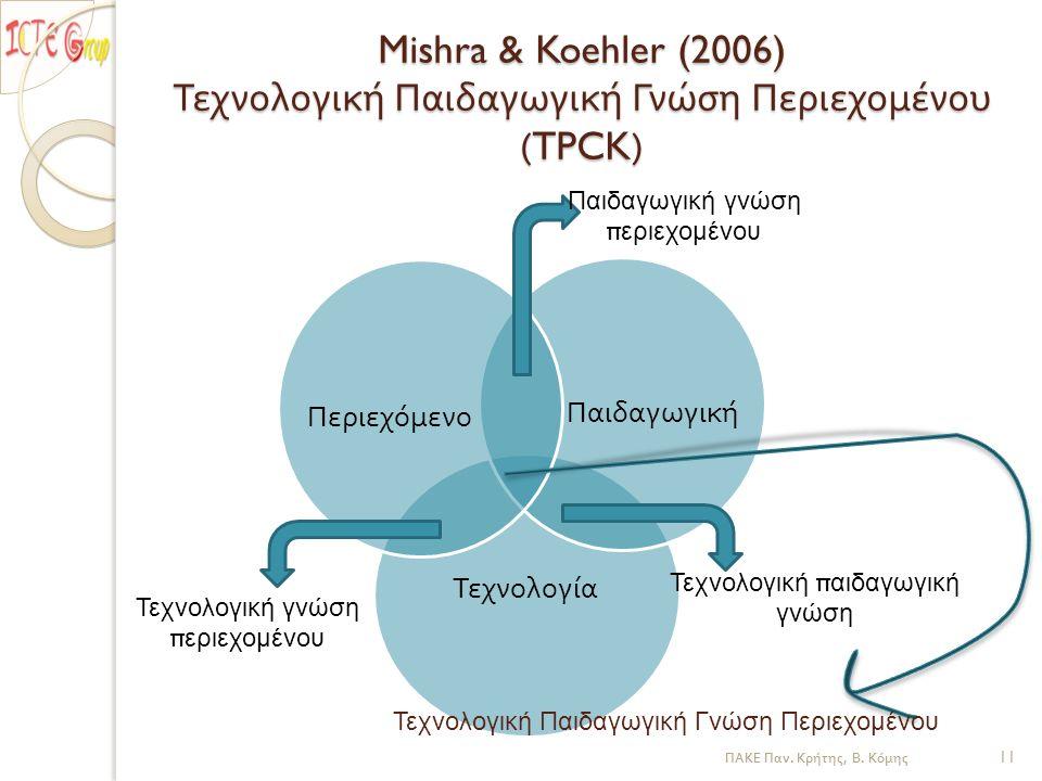 Mishra & Koehler (2006) Τεχνολογική Παιδαγωγική Γνώση Περιεχομένου (TPCK) Τεχνολογία Παιδαγωγική Περιεχόμενο Παιδαγωγική γνώση π εριεχομένου Τεχνολογική γνώση π εριεχομένου Τεχνολογική π αιδαγωγική γνώση Τεχνολογική Παιδαγωγική Γνώση Περιεχομένου ΠΑΚΕ Παν.