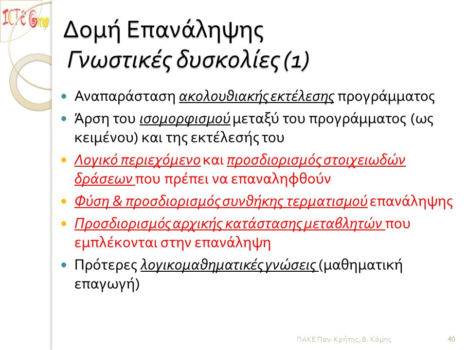 ΠΑΚΕ Παν. Κρήτης, Β. Κόμης Δομή Επανάληψης Γνωστικές δυσκολίες (1) Αναπαράσταση ακολουθιακής εκτέλεσης προγράμματος Άρση του ισομορφισμού μεταξύ του π