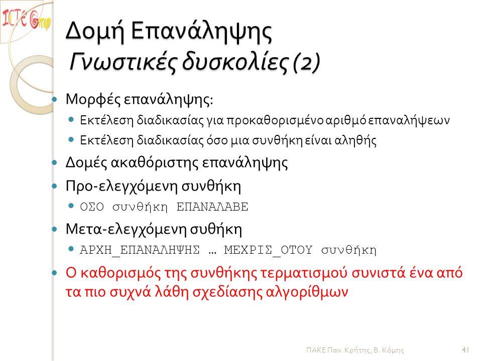 ΠΑΚΕ Παν. Κρήτης, Β. Κόμης Δομή Επανάληψης Γνωστικές δυσκολίες (2) Μορφές επανάληψης : Εκτέλεση διαδικασίας για προκαθορισμένο αριθμό επαναλήψεων Εκτέ