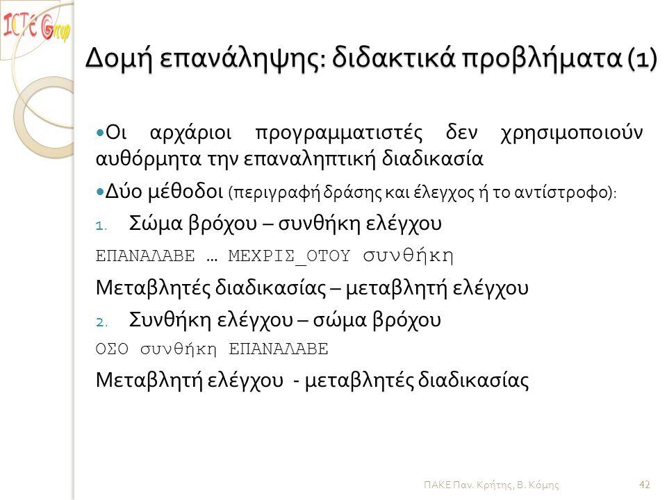 ΠΑΚΕ Παν. Κρήτης, Β. Κόμης Δομή επανάληψης : διδακτικά προβλήματα (1) — Οι αρχάριοι προγραμματιστές δεν χρησιμοποιούν αυθόρμητα την επαναληπτική διαδι