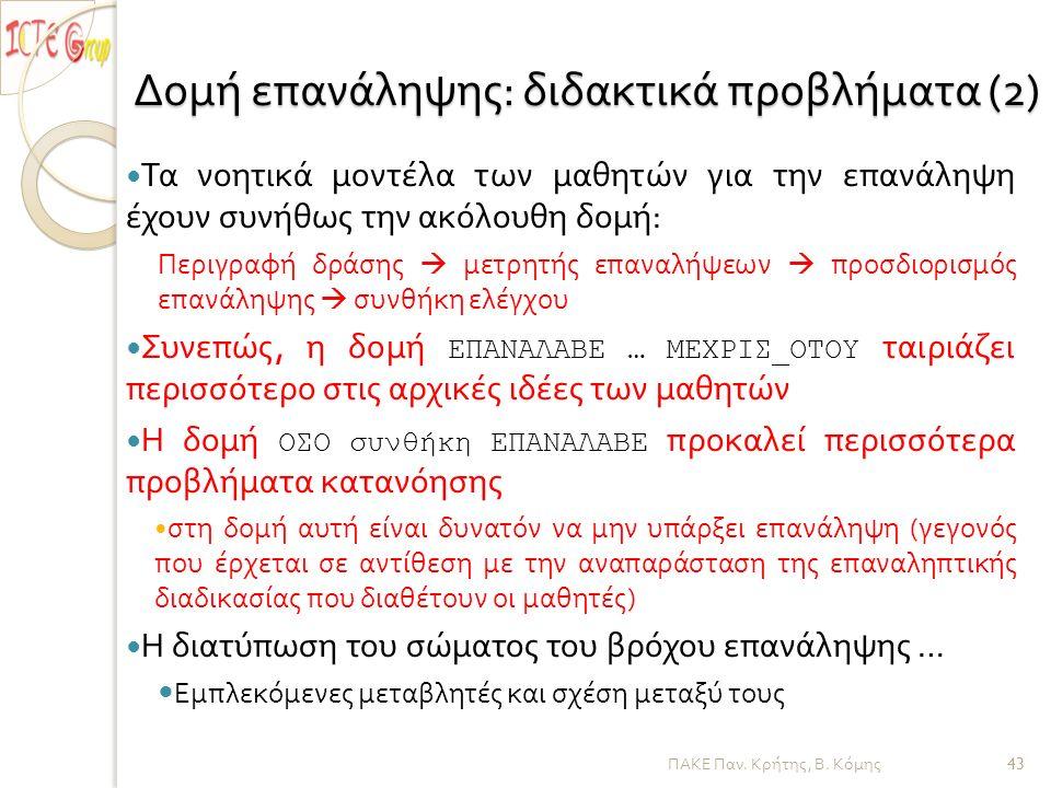 ΠΑΚΕ Παν. Κρήτης, Β. Κόμης Δομή επανάληψης : διδακτικά προβλήματα (2) — Τα νοητικά μοντέλα των μαθητών για την επανάληψη έχουν συνήθως την ακόλουθη δο