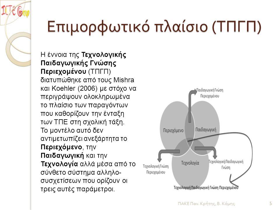 Επιμορφωτικό πλαίσιο ( ΤΠΓΠ ) ΠΑΚΕ Παν. Κρήτης, Β. Κόμης 5 Η έννοια της Τεχνολογικής Παιδαγωγικής Γνώσης Περιεχομένου (ΤΠΓΠ) διατυπώθηκε από τους Mish