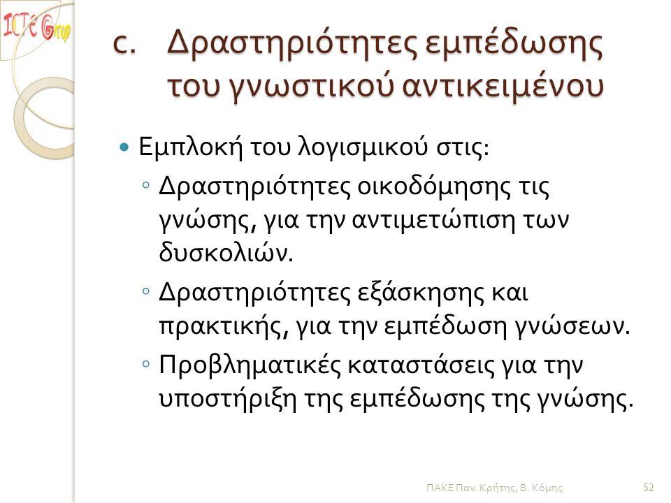 c.Δραστηριότητες εμπέδωσης του γνωστικού αντικειμένου Εμπλοκή του λογισμικού στις : ◦ Δραστηριότητες οικοδόμησης τις γνώσης, για την αντιμετώπιση των