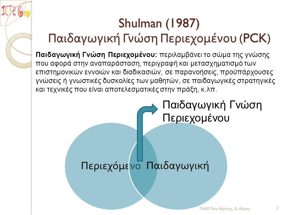 Shulman (1987) Παιδαγωγική Γνώση Περιεχομένου (PCK) Περιεχόμενο Παιδαγωγική Παιδαγωγική Γνώση Περιεχομένου ΠΑΚΕ Παν. Κρήτης, Β. Κόμης 7 Παιδαγωγική Γν