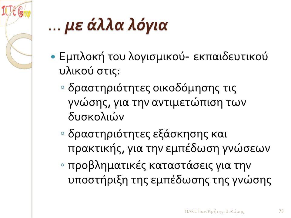 … με άλλα λόγια ΠΑΚΕ Παν. Κρήτης, Β. Κόμης Εμπλοκή του λογισμικού - εκπαιδευτικού υλικού στις : ◦ δραστηριότητες οικοδόμησης τις γνώσης, για την αντιμ