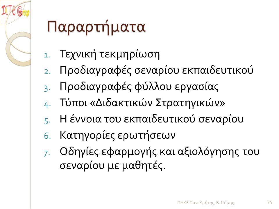 Παραρτήματα 1. Τεχνική τεκμηρίωση 2. Προδιαγραφές σεναρίου εκπαιδευτικού 3. Προδιαγραφές φύλλου εργασίας 4. Τύποι « Διδακτικών Στρατηγικών » 5. Η έννο