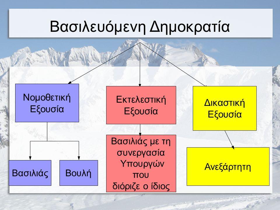 Το Σύνταγμα του 1864 Με το Σύνταγμα του 1864, το δεύτερο συνταγμα της Ελλάδας, καθιερώνεται το πολίτευμα της βασιλευόμενης δημοκρατίας.