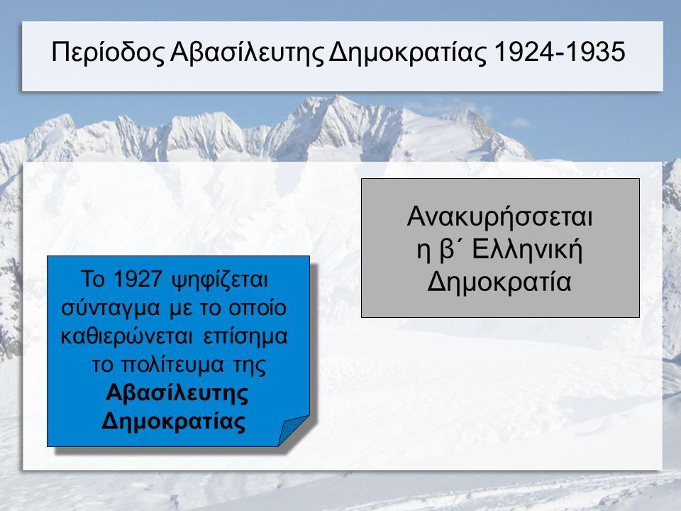 1875 Χαρίλαος Τρικούπης «Αρχή της δεδηλωμένης» Βασιλευόμενη Δημοκρατία 1864-1924