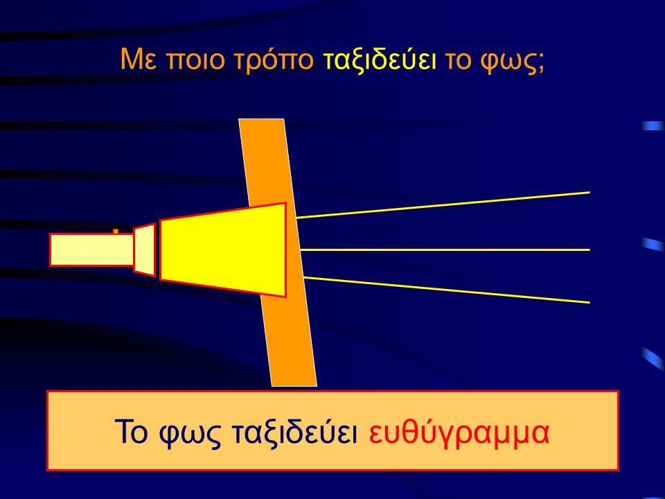 Με ποιο τρόπο ταξιδεύει το φως; Το φως ταξιδεύει ευθύγραμμα