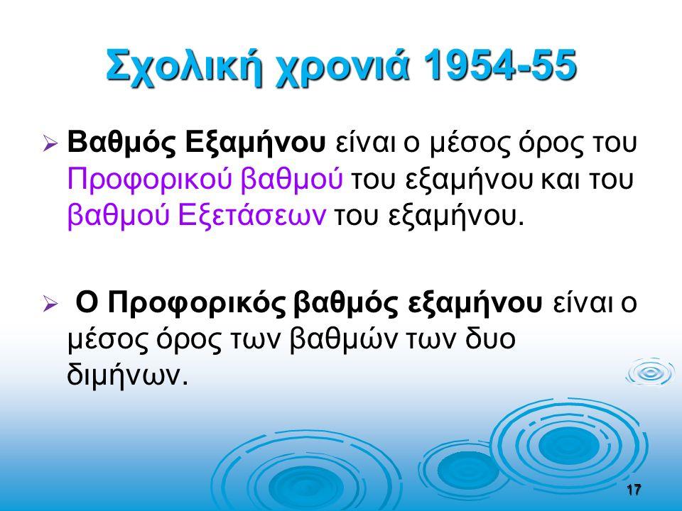 Σχολική χρονιά 1954-55   Βαθμός Εξαμήνου είναι ο μέσος όρος του Προφορικού βαθμού του εξαμήνου και του βαθμού Εξετάσεων του εξαμήνου.   Ο Προφορικ