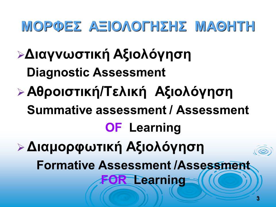 ΜΟΡΦΕΣ ΑΞΙΟΛΟΓΗΣΗΣ ΜΑΘΗΤΗ   Διαγνωστική Αξιολόγηση Diagnostic Assessment   Αθροιστική/Τελική Αξιολόγηση Summative assessment / Assessment OF Learn