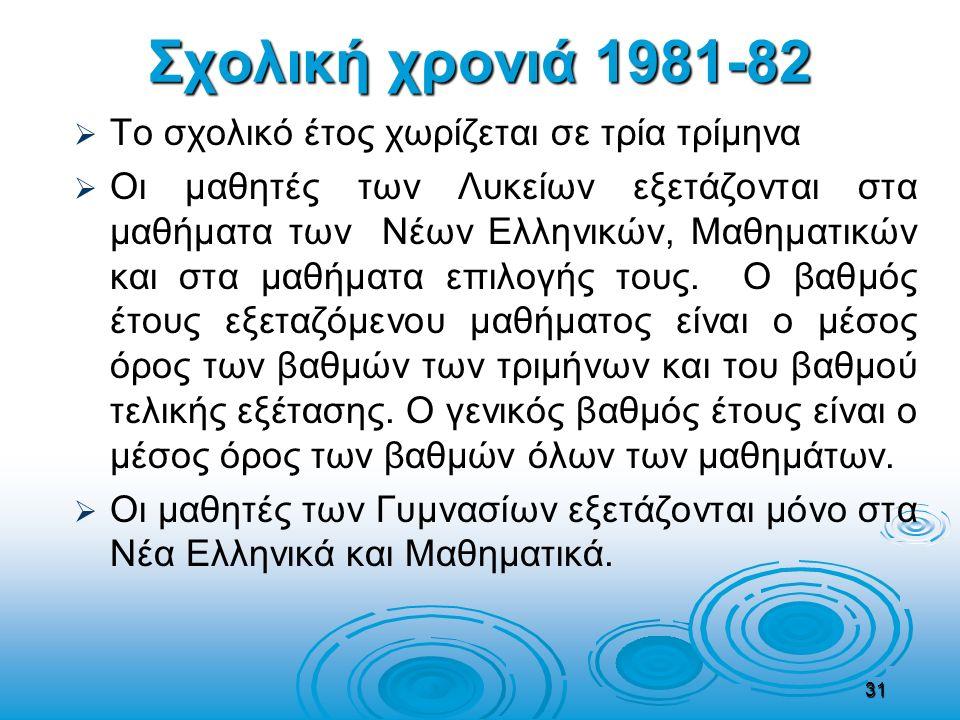 Σχολική χρονιά 1981-82   Το σχολικό έτος χωρίζεται σε τρία τρίμηνα   Οι μαθητές των Λυκείων εξετάζονται στα μαθήματα των Νέων Ελληνικών, Μαθηματικ