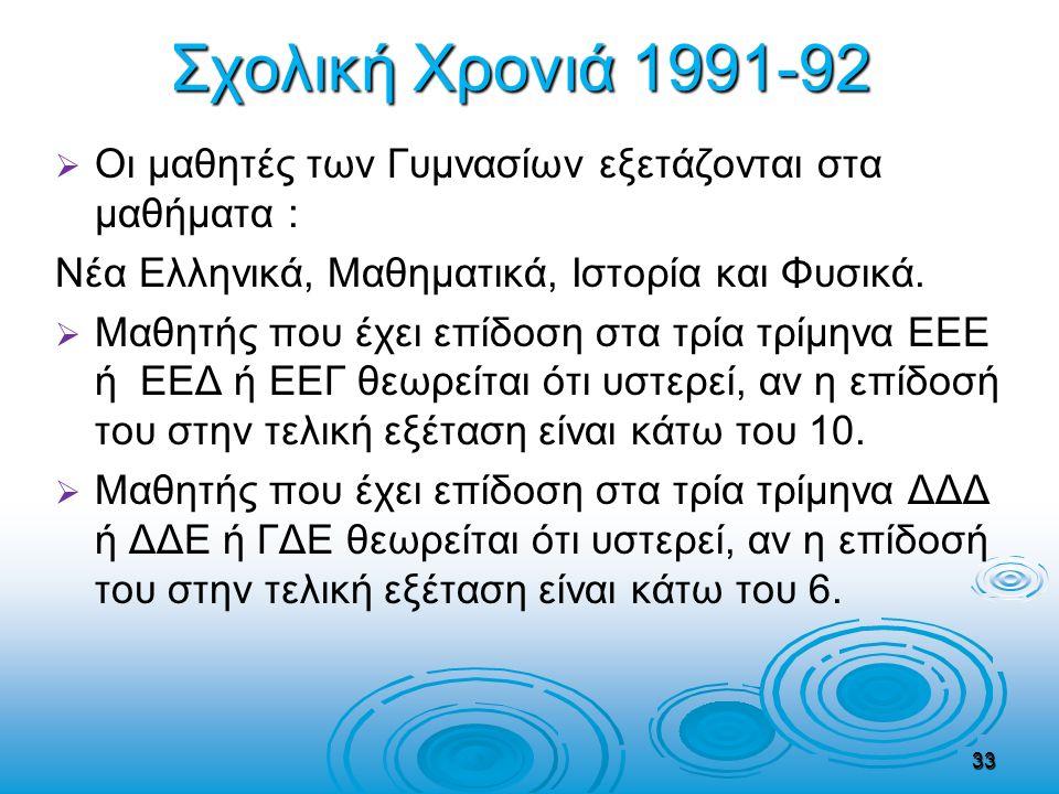 Σχολική Χρονιά 1991-92   Οι μαθητές των Γυμνασίων εξετάζονται στα μαθήματα : Νέα Ελληνικά, Μαθηματικά, Ιστορία και Φυσικά.   Μαθητής που έχει επίδ