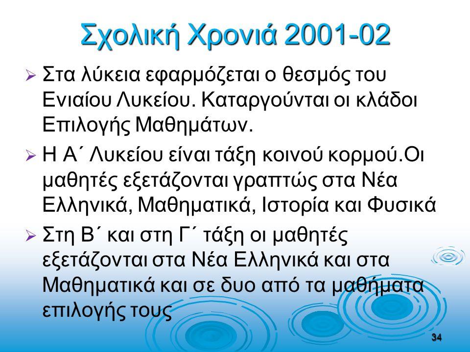 Σχολική Χρονιά 2001-02   Στα λύκεια εφαρμόζεται ο θεσμός του Ενιαίου Λυκείου. Καταργούνται οι κλάδοι Επιλογής Μαθημάτων.   Η Α΄ Λυκείου είναι τάξη