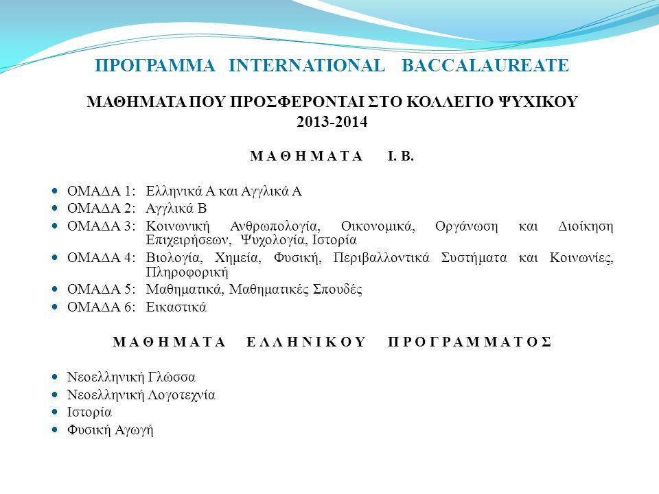 ΜΑΘΗΜΑΤΑ ΠΟΥ ΠΡΟΣΦΕΡΟΝΤΑΙ ΣΤΟ ΚΟΛΛΕΓΙΟ ΨΥΧΙΚΟΥ 2013-2014 Μ Α Θ Η Μ Α Τ Α Ι. Β. ΟΜΑΔΑ 1: Ελληνικά Α και Αγγλικά Α ΟΜΑΔΑ 2: Αγγλικά B ΟΜΑΔΑ 3:Κοινωνική