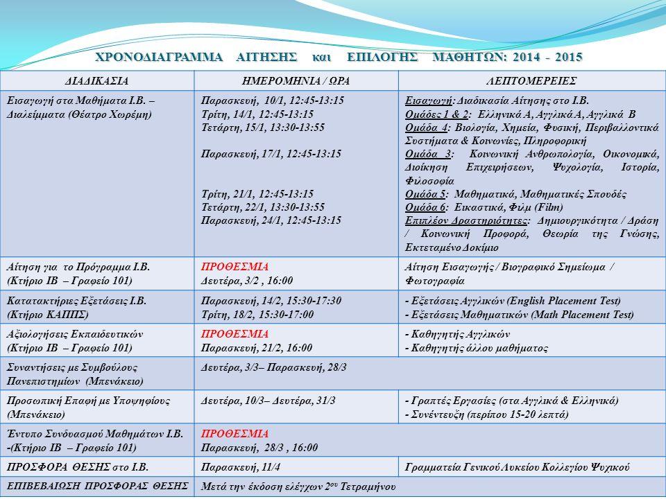 ΧΡΟΝΟΔΙΑΓΡΑΜΜΑ ΑΙΤΗΣΗΣ και ΕΠΙΛΟΓΗΣ ΜΑΘΗΤΩΝ: 2014 - 2015 ΔΙΑΔΙΚΑΣΙΑΗΜΕΡΟΜΗΝΙΑ / ΩΡΑΛΕΠΤΟΜΕΡΕΙΕΣ Εισαγωγή στα Μαθήματα Ι.Β. – Διαλείμματα (Θέατρο Χωρέμ
