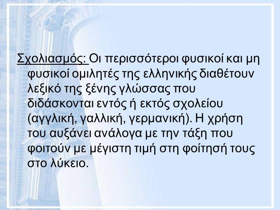 Σχολιασμός: Οι περισσότεροι φυσικοί και μη φυσικοί ομιλητές της ελληνικής διαθέτουν λεξικό της ξένης γλώσσας που διδάσκονται εντός ή εκτός σχολείου (α