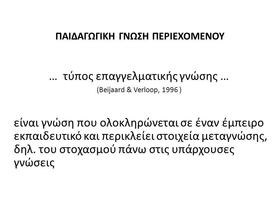 ΠΑΙΔΑΓΩΓΙΚΗ ΓΝΩΣΗ ΠΕΡΙΕΧΟΜΕΝΟΥ (Psillos & Barbas 1995, Mellado 1999, Davis & Petish 2001) Μετασχηματισμός Κατανόηση ΕπίγνωσηΑξιολόγηση Διδασκαλία Αναστοχασμός Μοντέλο Shulman