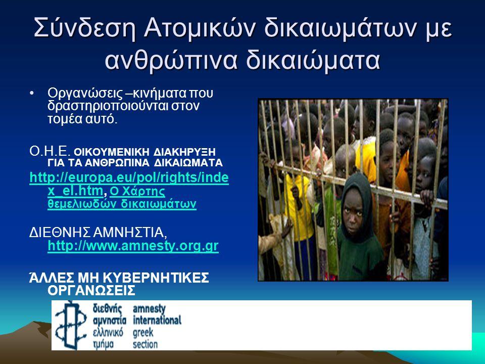 Σύνδεση Ατομικών δικαιωμάτων με ανθρώπινα δικαιώματα Οργανώσεις –κινήματα που δραστηριοποιούνται στον τομέα αυτό. Ο.Η.Ε. ΟΙΚΟΥΜΕΝΙΚΗ ΔΙΑΚΗΡΥΞΗ ΓΙΑ ΤΑ